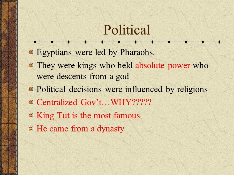 Political Egyptians were led by Pharaohs.