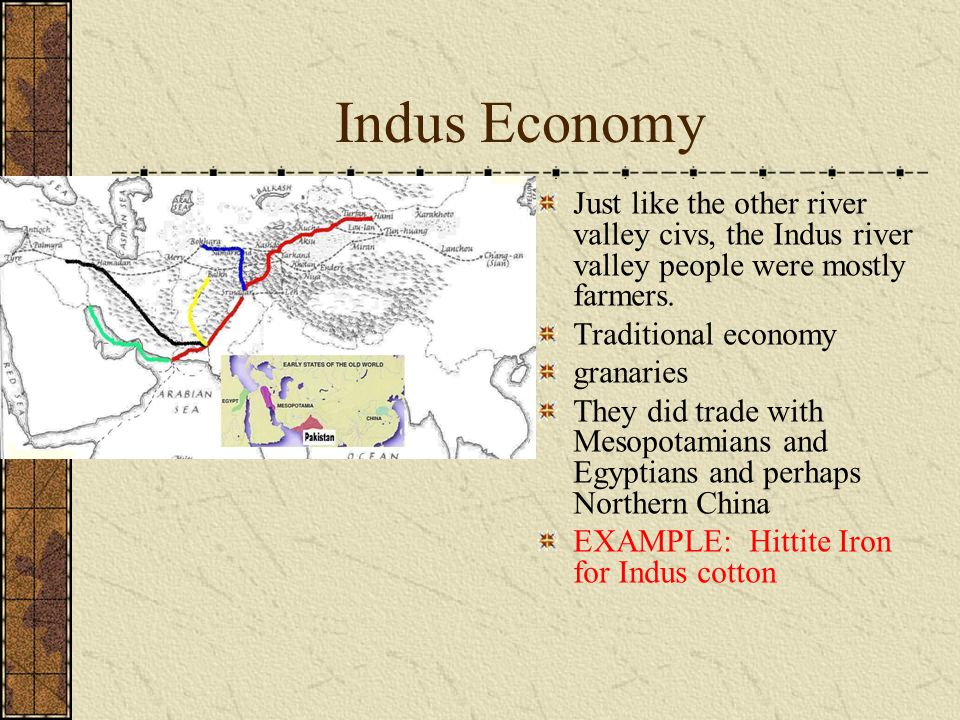Indus Economy Just like the other river valley civs, the Indus river valley people were mostly farmers.