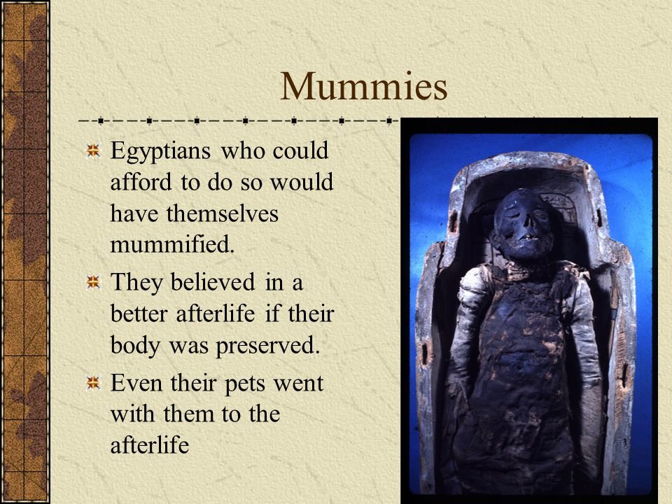 Mummies Egyptians who could afford to do so would have themselves mummified. They believed in a better afterlife if their body was preserved.