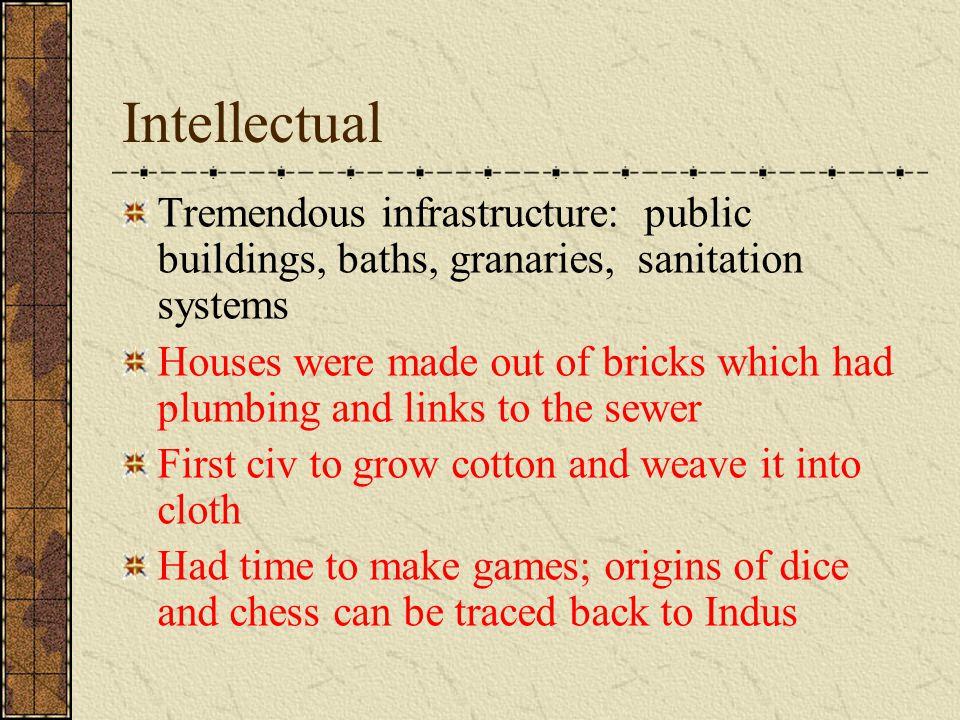 Intellectual Tremendous infrastructure: public buildings, baths, granaries, sanitation systems.