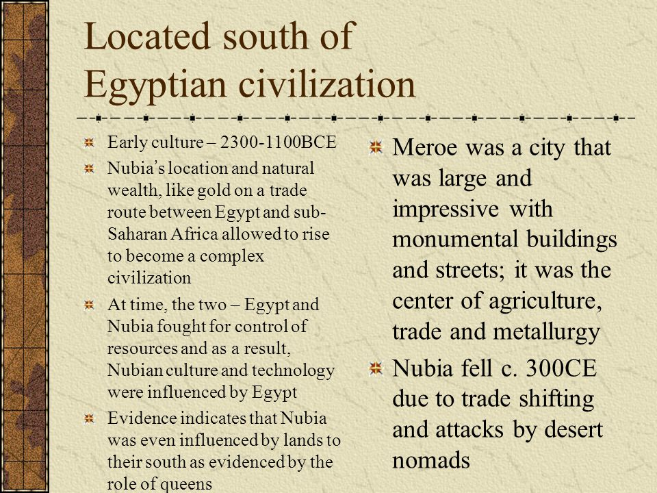 Located south of Egyptian civilization