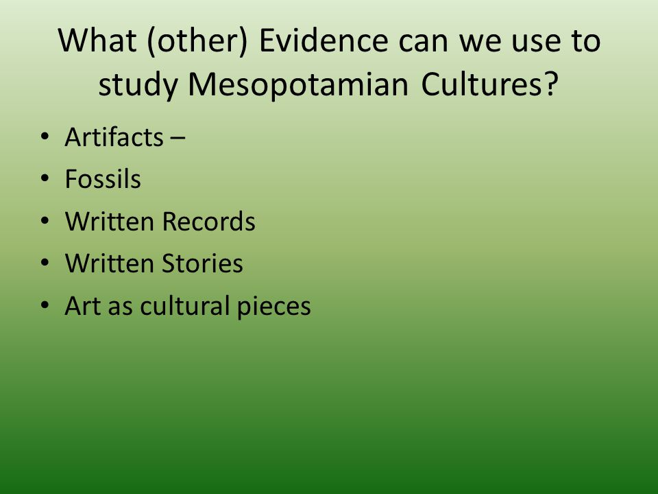 What (other) Evidence can we use to study Mesopotamian Cultures