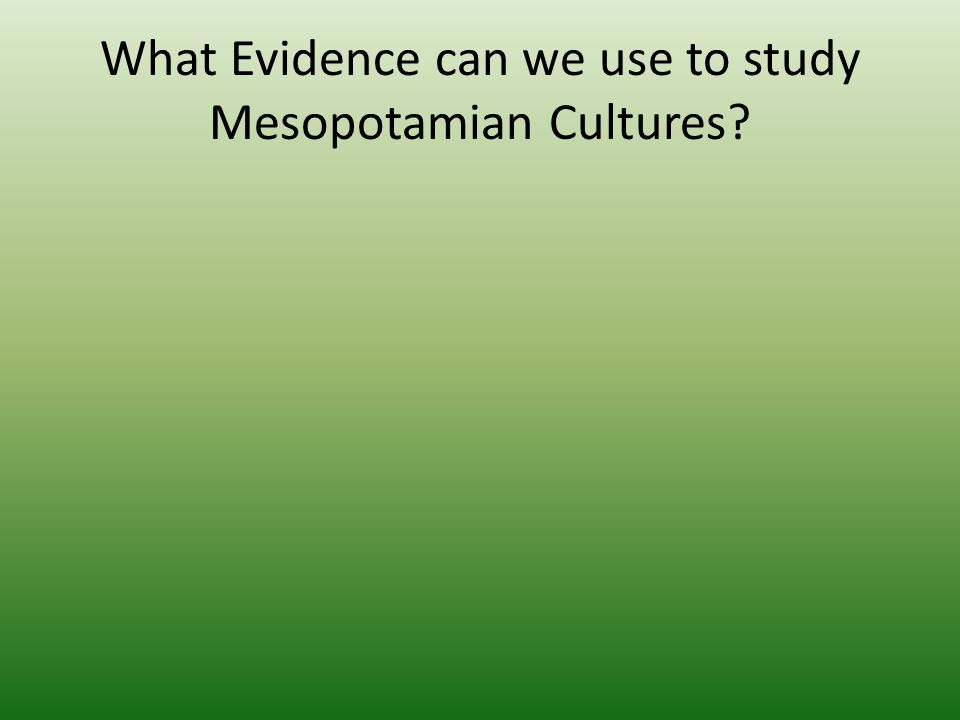 What Evidence can we use to study Mesopotamian Cultures