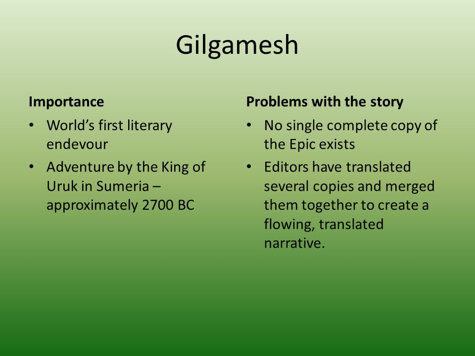 the important role of women in the epic of gilgamesh Role of women in the epic of gilgamesh in this presentation, we will talk about the role of each woman in the story, gilgamesh, and then we will summarize the role .