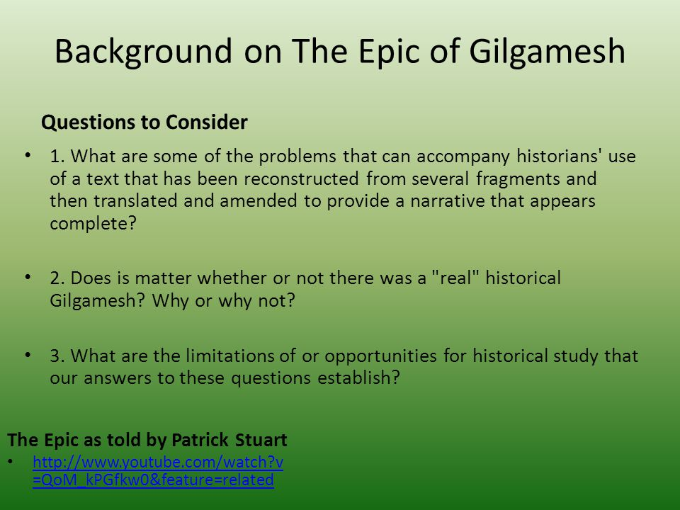 Background on The Epic of Gilgamesh
