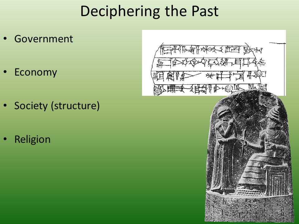 Deciphering the Past Government Economy Society (structure) Religion