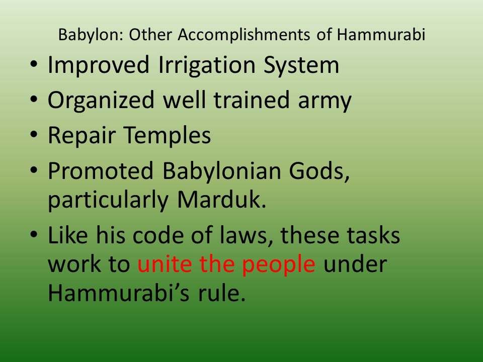 Babylon: Other Accomplishments of Hammurabi