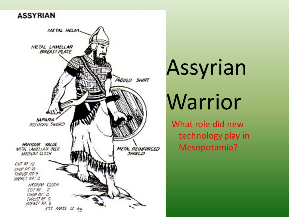 Assyrian Warrior What role did new technology play in Mesopotamia