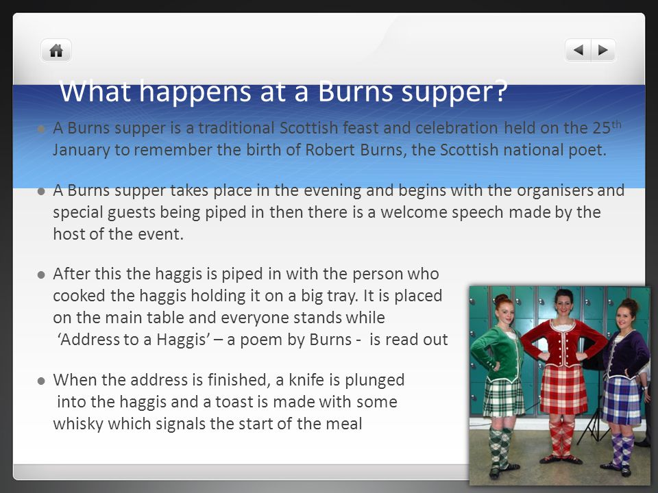 What happens at a Burns supper