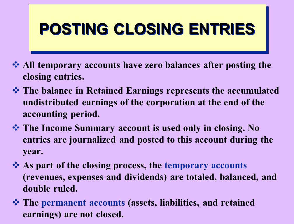 POSTING CLOSING ENTRIES
