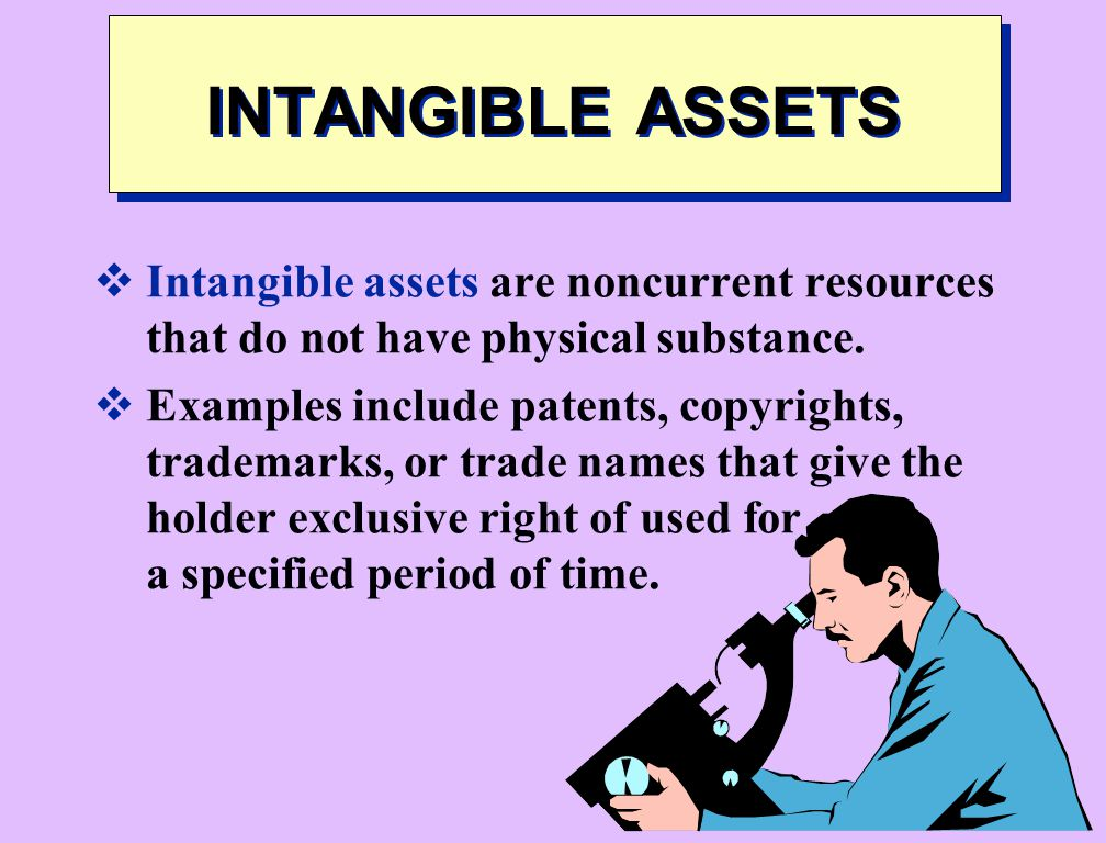 INTANGIBLE ASSETS Intangible assets are noncurrent resources that do not have physical substance.