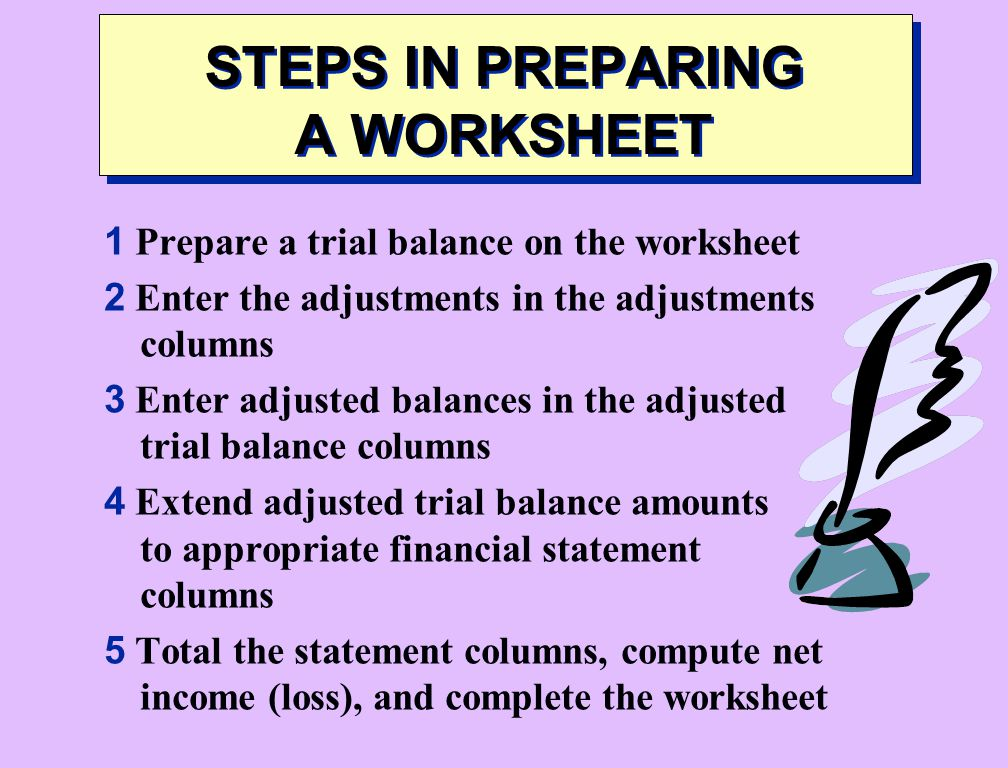 STEPS IN PREPARING A WORKSHEET