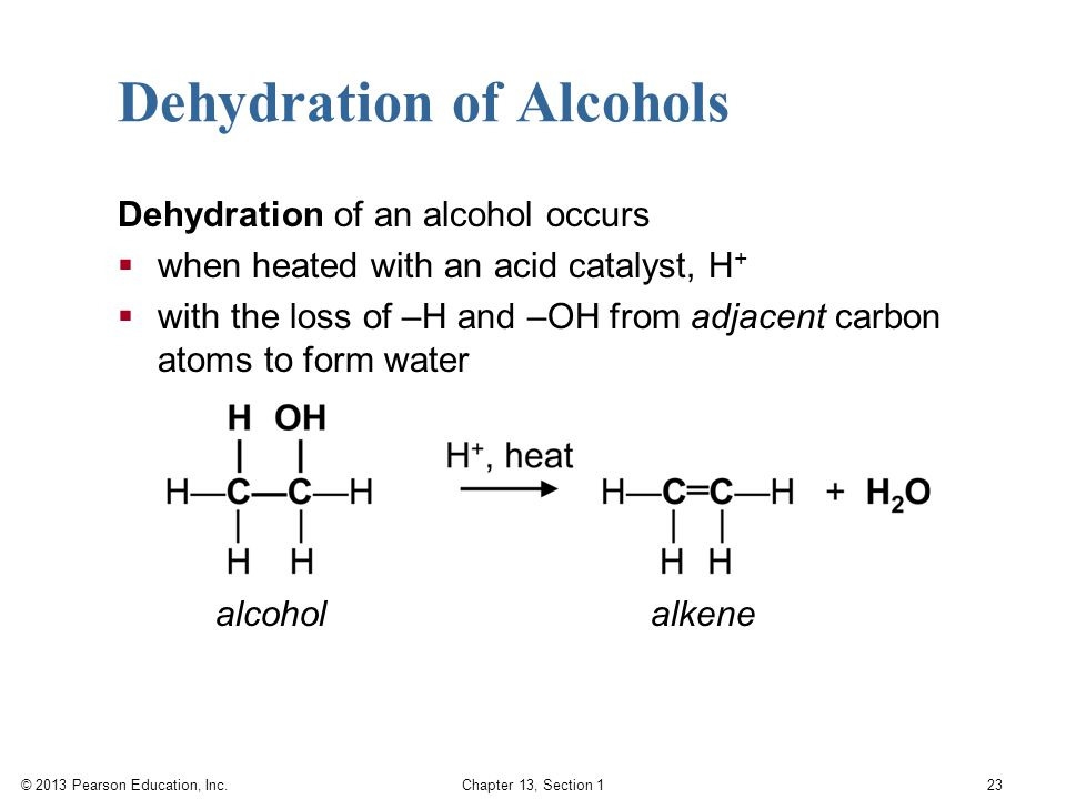 the formation of carbon carbon double bonds by the dehydration of secondary alcohols This allows for the formation of an alkene without the intermediate formation of an unstable carbocation a protonated primary alcohol ---- alkene dehydration is particularly easy when a conjugated double bond is formed an alcohol that bears a carbonyl group two carbons away readily undergoes dehydration and this.
