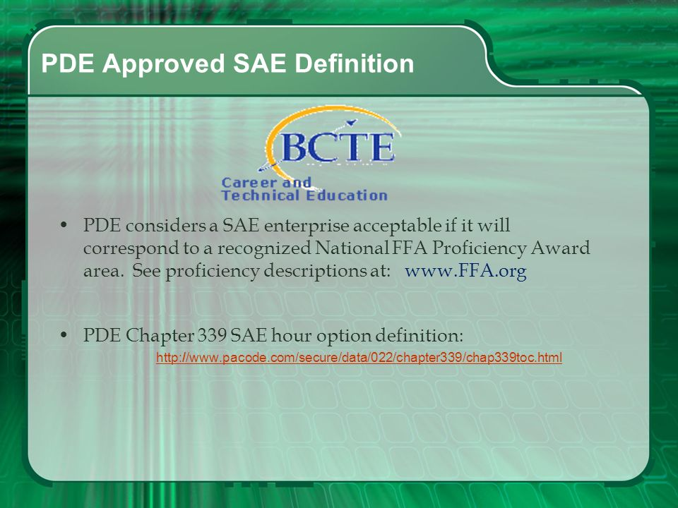 PDE Approved SAE Definition