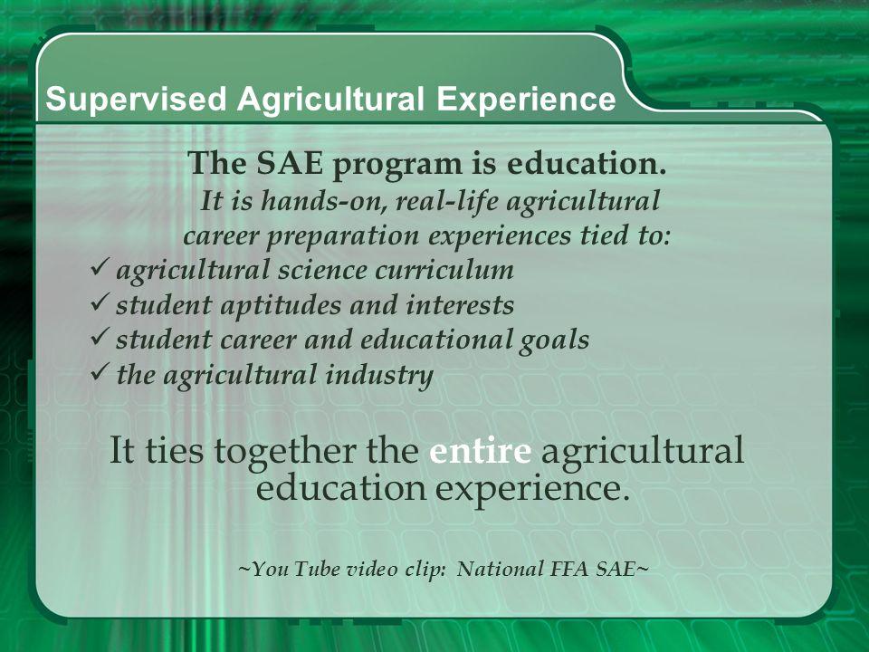 Supervised Agricultural Experience