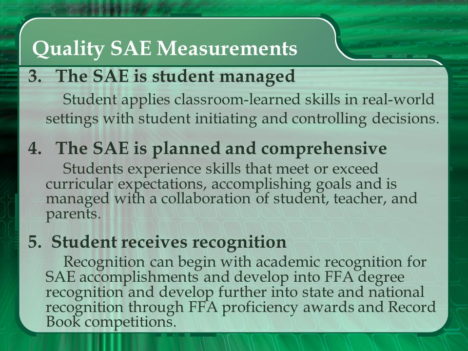 Quality SAE Measurements