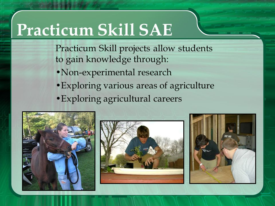 Practicum Skill SAE Practicum Skill projects allow students to gain knowledge through: Non-experimental research.