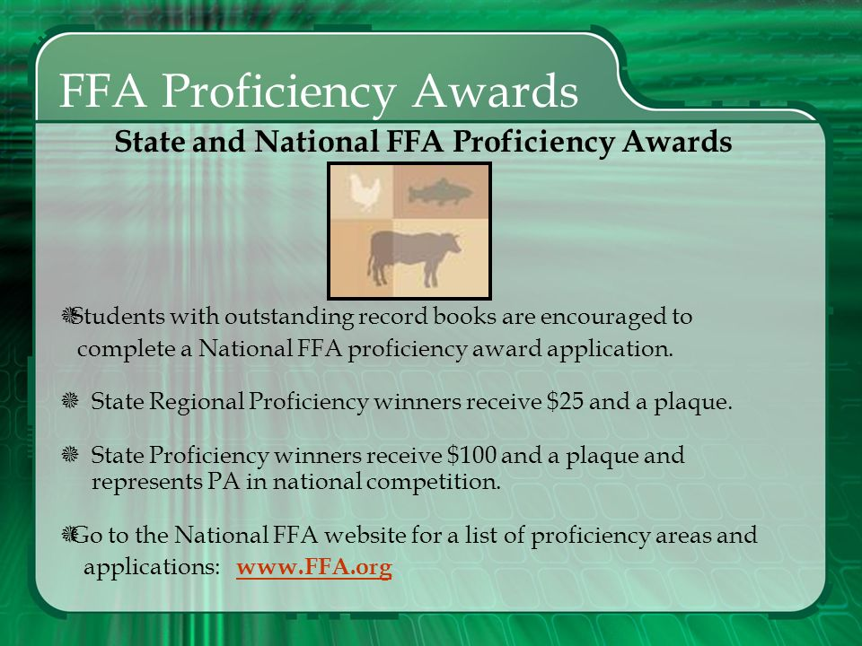 State and National FFA Proficiency Awards