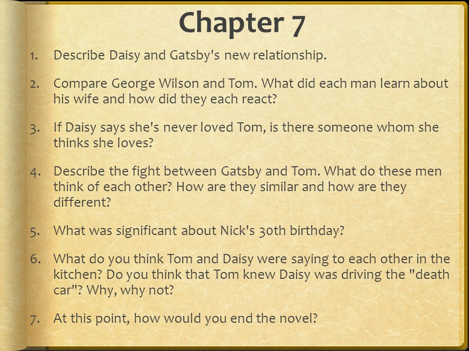 relationship between gatsby and daisy essay Essays great gatsby the idea of gatsby's and daisy's relationship being inevitably doomed is emphasized with the gatsby using the abstract noun 'passion' showing a feature fitzgerald continuously employs for the duration of 'the great gatsby' additionally emphasizes the.