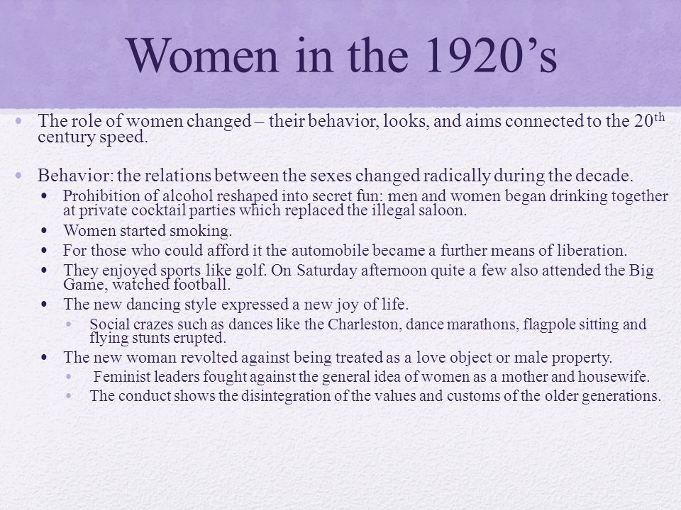 social roles of women 20th century The twentieth century will, without doubt, be viewed by historians as the woman's hour a girl born in 1899, as my grandmother was, had little chance of evading the role that was considered her destiny - to marry young, stay home and raise a family.