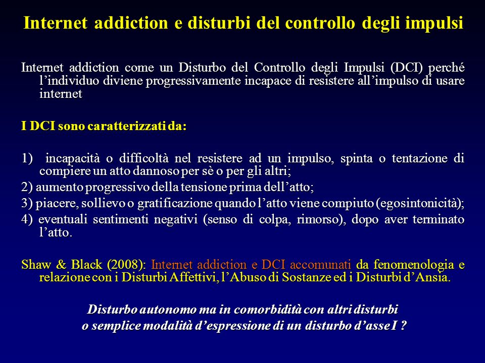 Internet addiction e disturbi del controllo degli impulsi