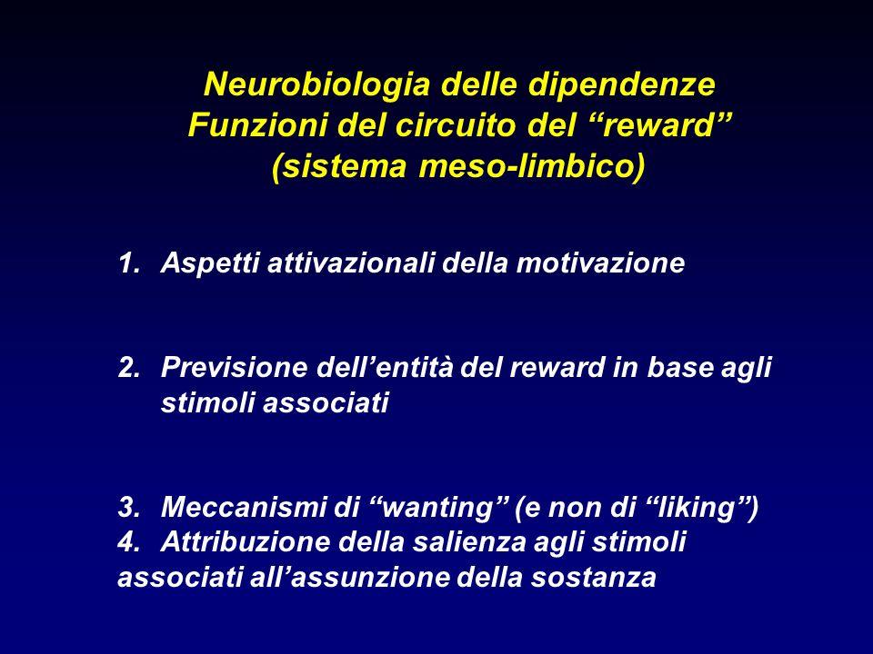 Neurobiologia delle dipendenze Funzioni del circuito del reward