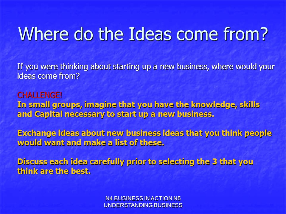 Where do the Ideas come from