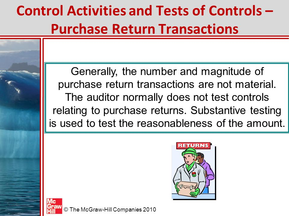Control Activities and Tests of Controls – Purchase Return Transactions