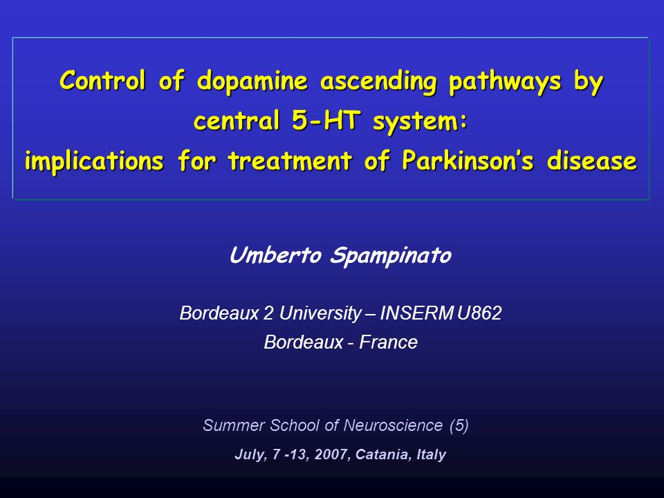 Control of dopamine ascending pathways by central 5-HT system: