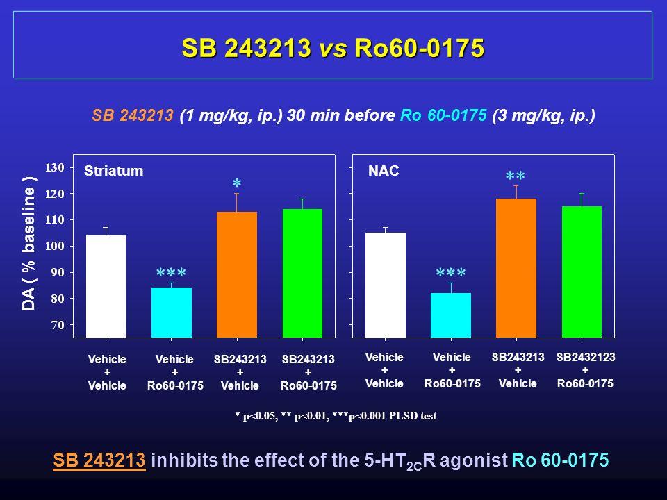 SB 243213 vs Ro60-0175 SB 243213 (1 mg/kg, ip.) 30 min before Ro 60-0175 (3 mg/kg, ip.) Striatum. NAC.