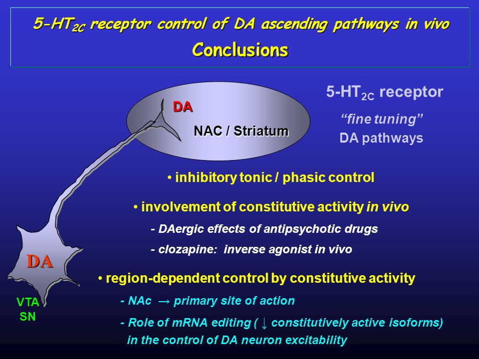 5-HT2C receptor control of DA ascending pathways in vivo