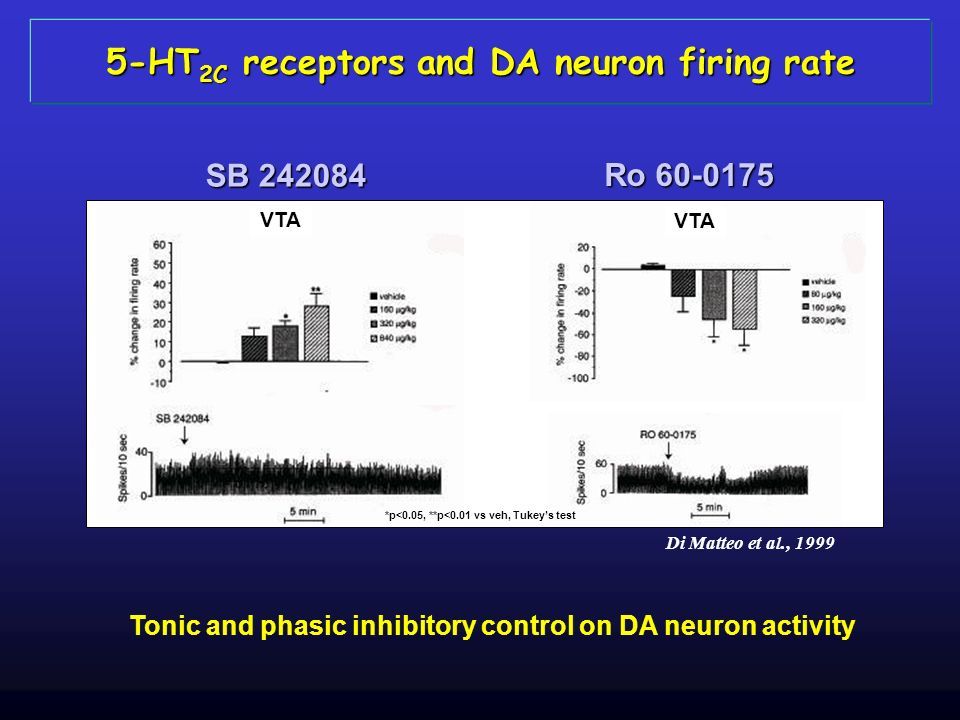 5-HT2C receptors and DA neuron firing rate