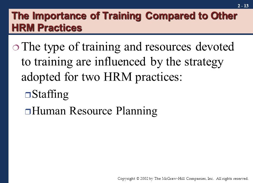 hrm the importance of training Making the right investments in learning and development programs has   learning programs is an important concern among hr executives.