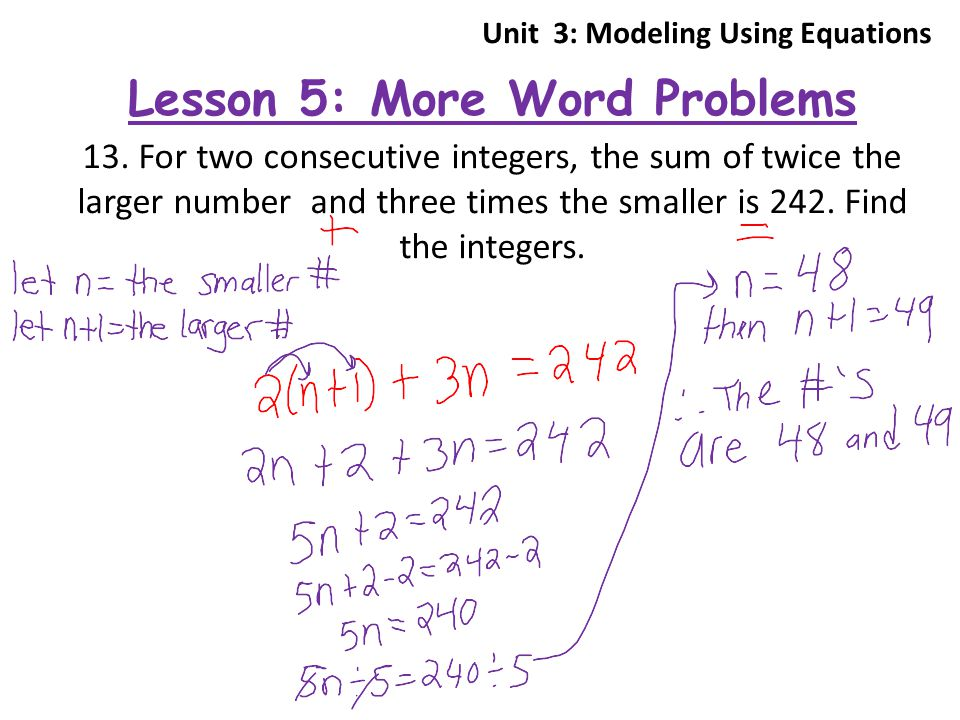 Unit 3 Solving Equations ppt download – Consecutive Integers Word Problems Worksheet