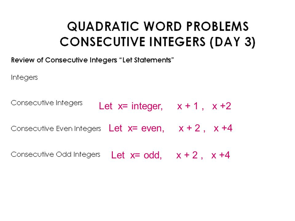 Quadratic Relations and Functions ppt download – Consecutive Integers Worksheet