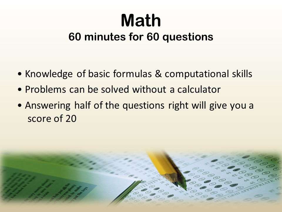 Math 60 minutes for 60 questions