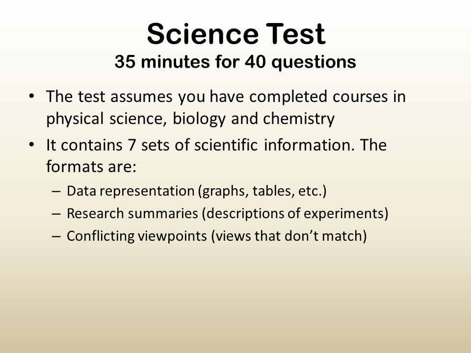 Science Test 35 minutes for 40 questions