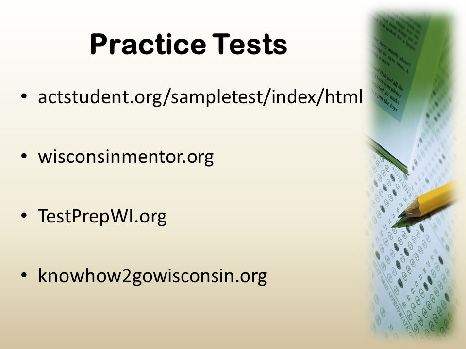 Practice Tests actstudent.org/sampletest/index/html