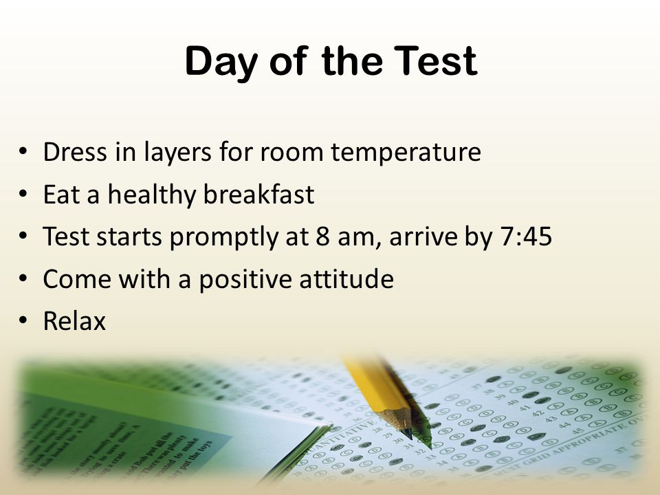Day of the Test Dress in layers for room temperature