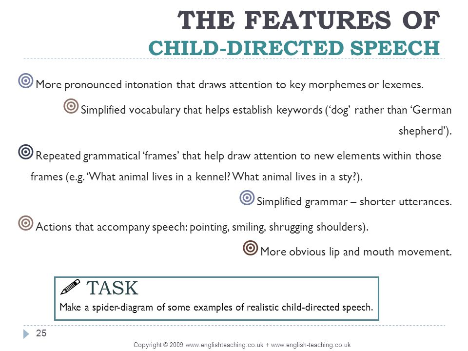 child directed speech A-level english langauge revision looking at child language acquisition topics  include phonology, lexis and semantics, grammar, deixis, pragmatics,.