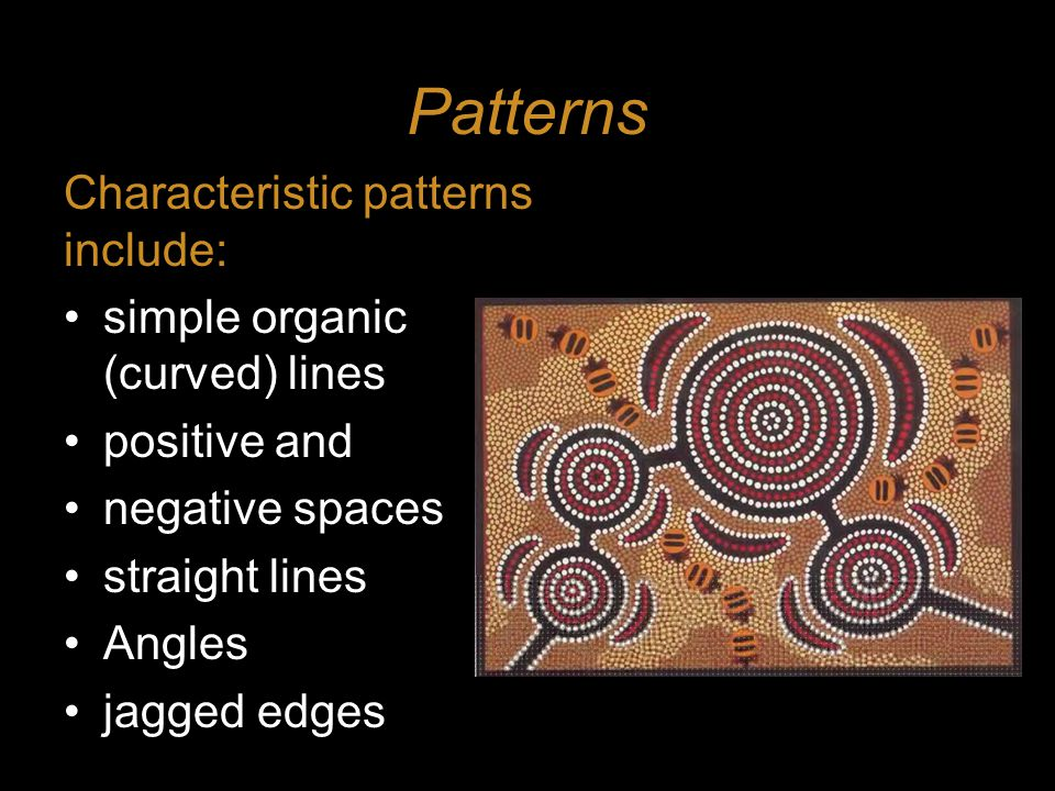 Patterns Characteristic patterns include: