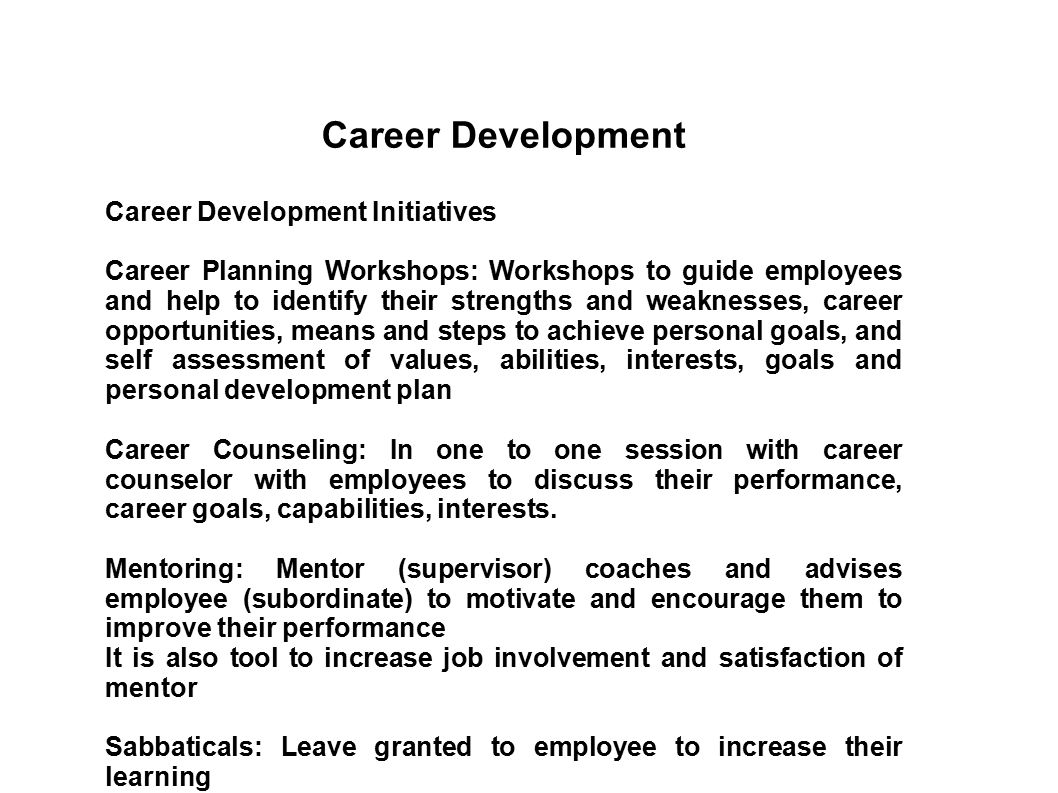 training  development and career management
