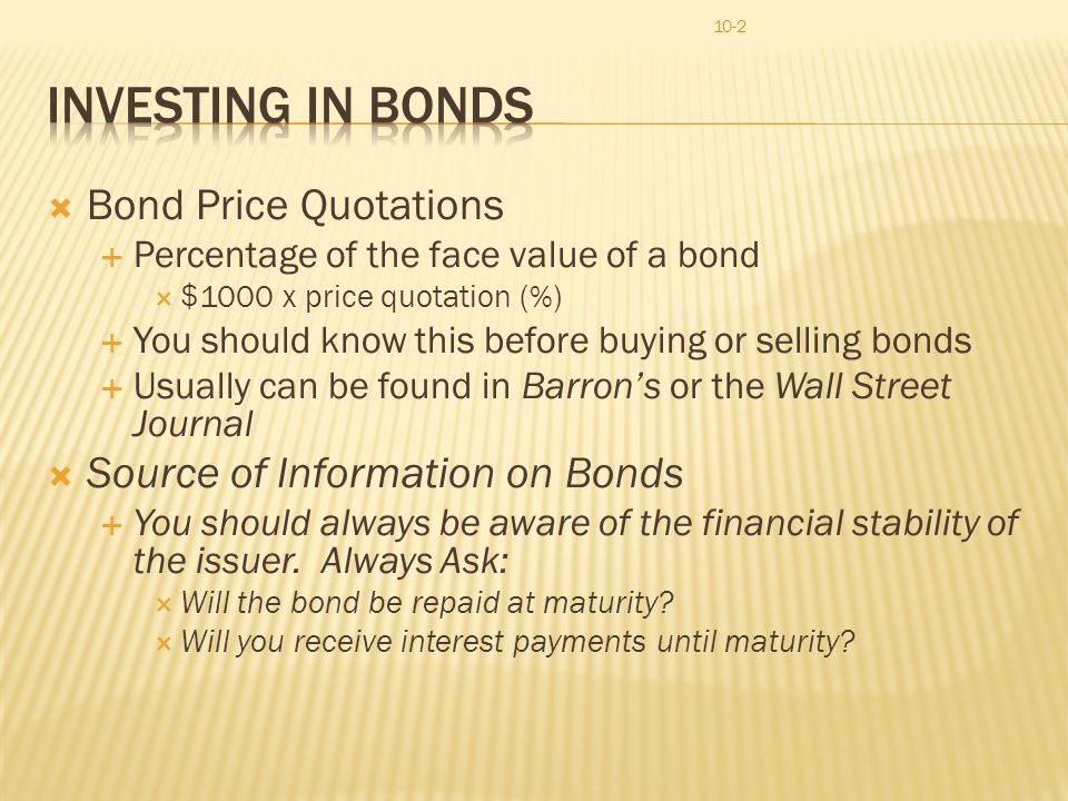Finance Chapter 10 Bonds And Mutual Funds. - Ppt Video Online Download