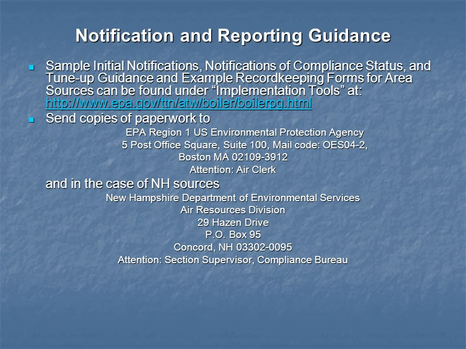 Notification and Reporting Guidance