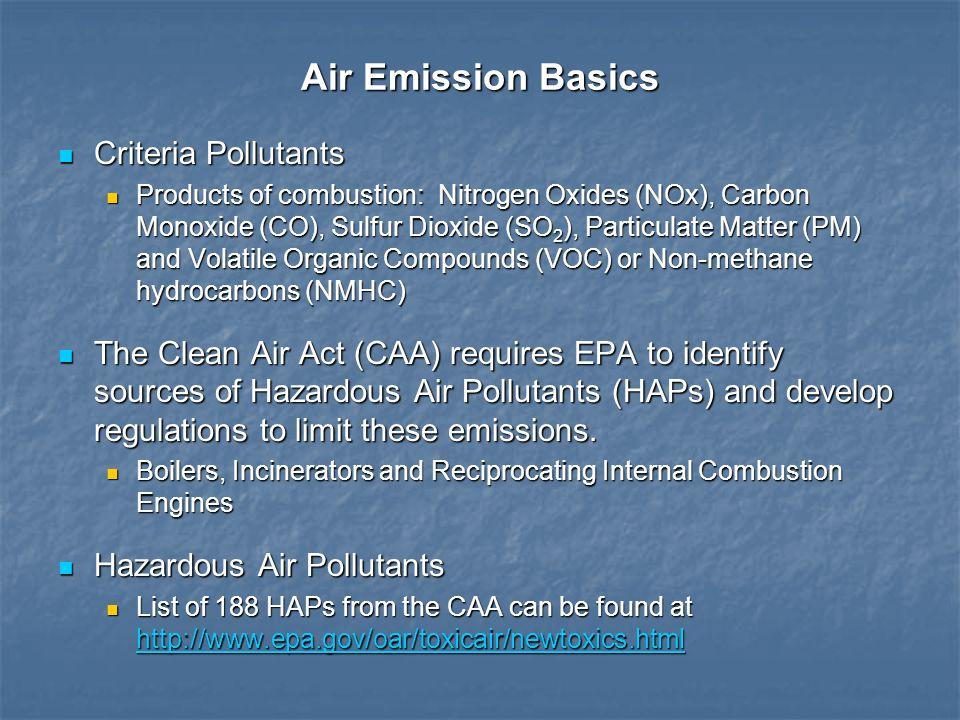 Air Emission Basics Criteria Pollutants