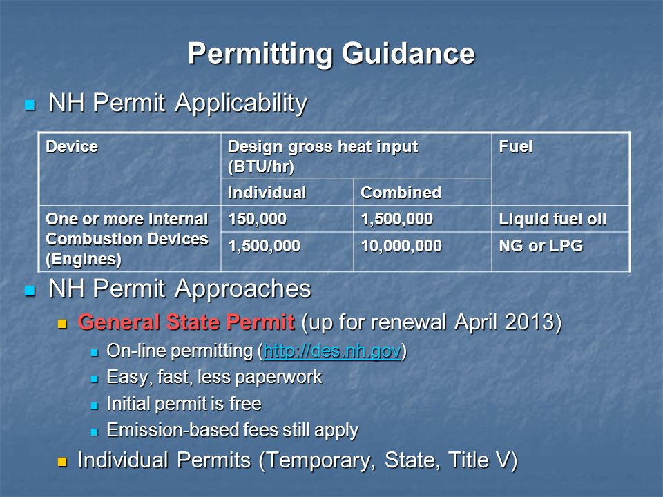Permitting Guidance NH Permit Applicability NH Permit Approaches