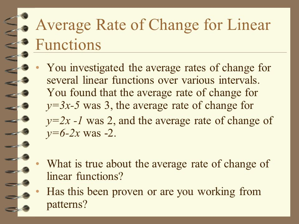 how to work out average rate of cange