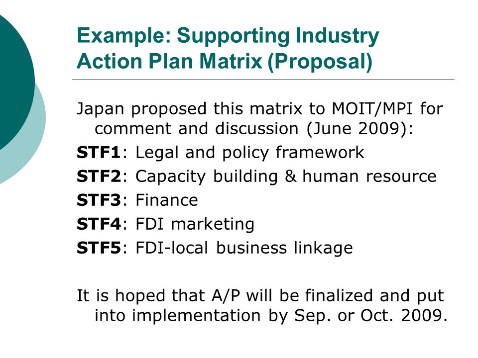 Example: Supporting Industry Action Plan Matrix (Proposal)