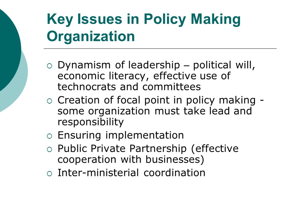 Key Issues in Policy Making Organization