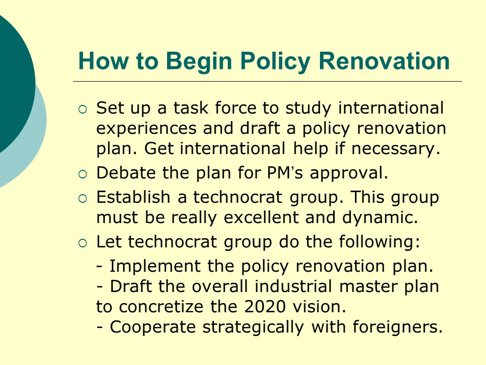 How to Begin Policy Renovation